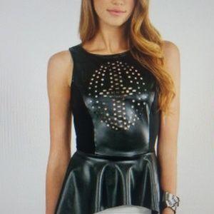 Tobi Faux Leather Sleeveless Top